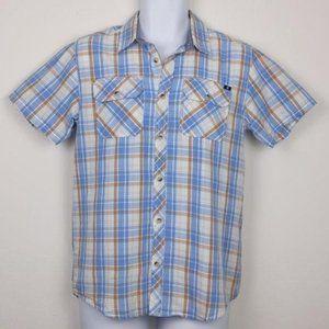 Lucky Brand blue, white, plaid button shirt